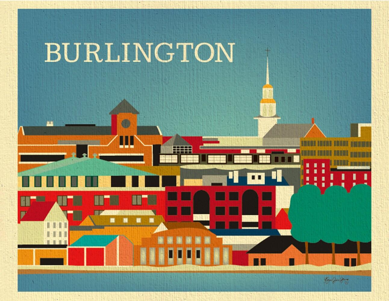 Burlington Print Burlington Skyline Art Vermont Print