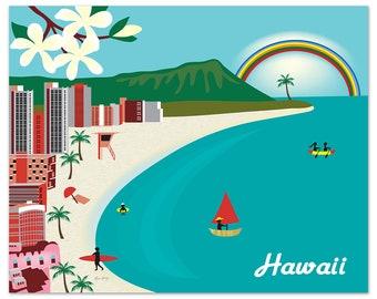 Hawaii Print, Honolulu Hawaii Skyline, Diamond Head Print, Waikiki Beach Print,  Honolulu Wall Art, Oahu Art Wedding,  Oahu  Art  E8-O-HI