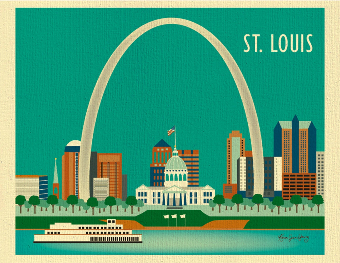 St. Louis Skyline Art Print St. Louis Wall Art St. Louis   Etsy
