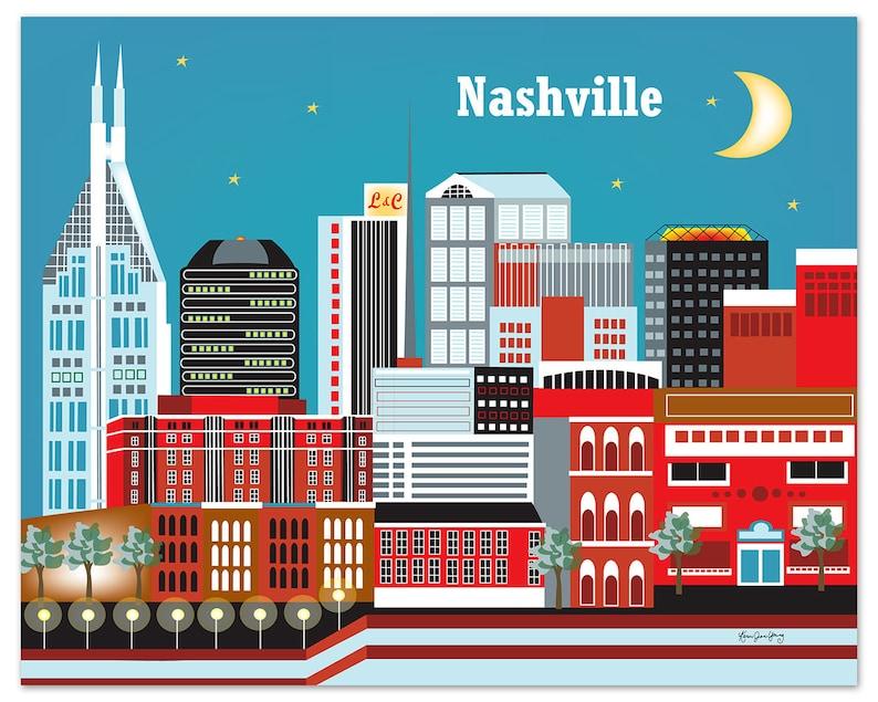 Nashville Skyline Art Print Nashville Wall Art Nashville image 0