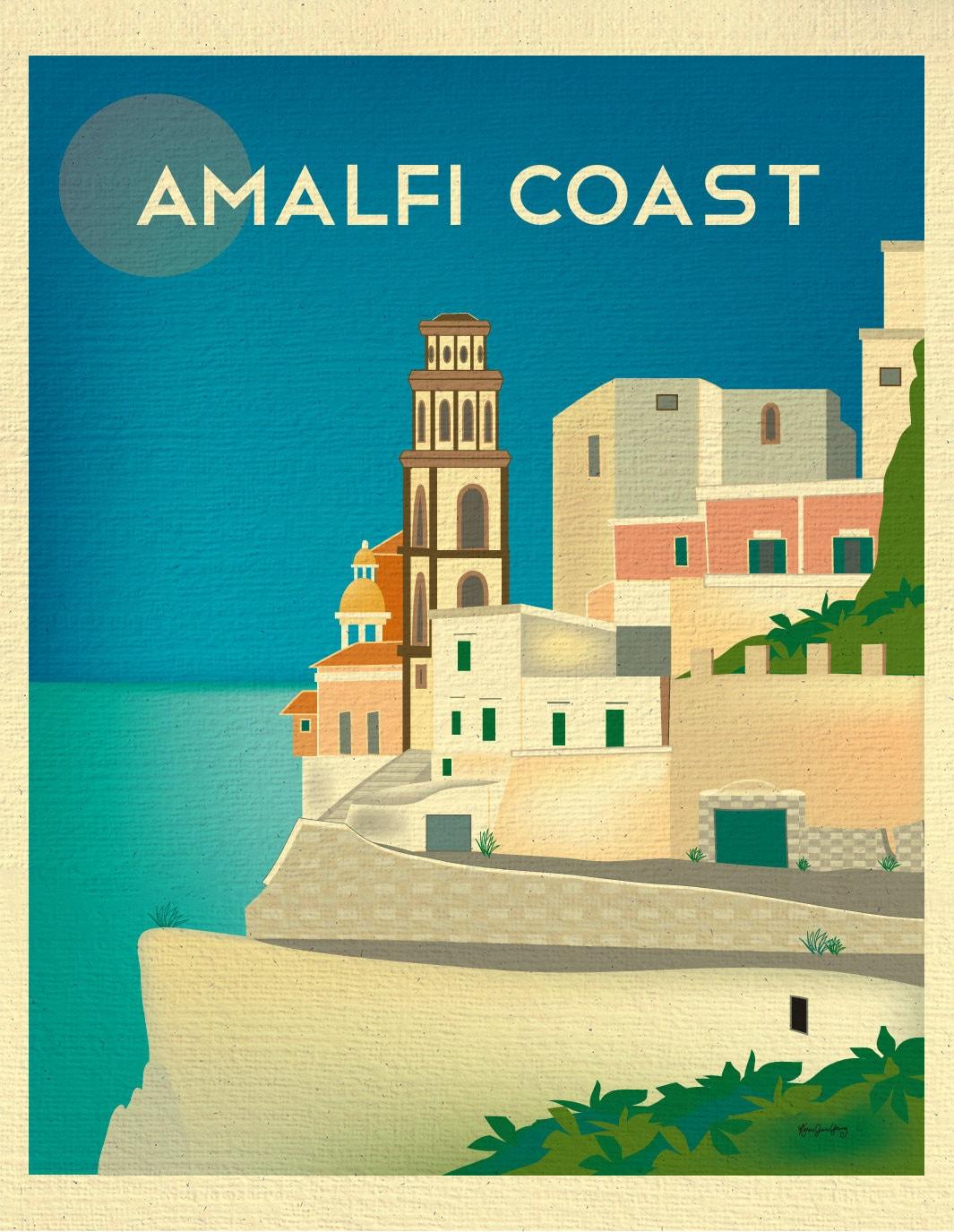 Amalfi Coast Print Positano Italy Amalfi Coast Poster | Etsy
