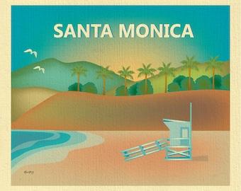 Santa Monica Beach Print, Santa Monica Wall Art, Santa Monica Beach Travel Art Poster, Santa Monica Baby Nursery Art - style E8-O-SANTA-MON