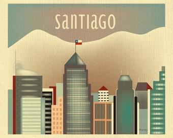 Santiago Horizontal skyline print, Andes Art, Chile Travel Wall Art, Santiago Gift, Santiago Nursery, Loose Petals City Art- style E8-O-SANT
