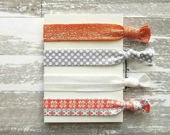 Orange Gray Hair Band Set - Fair Isle sweater snowflake knit look tie set - elastic stretch ribbon ponytail accessory bow womens girls