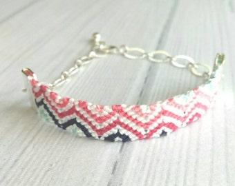 Woven Bracelet - silver chain adjustable stripe chevron zig zag pink blue white navy diagonal pattern - cotton braid knot thread string
