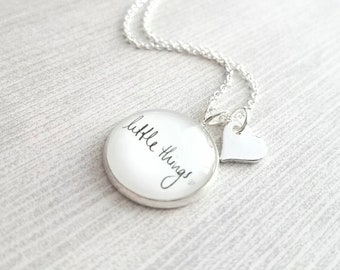 Little Things Necklace - sweet reminder what counts - handwritten script - simple silver heart tag - dainty delicate chain - motivational