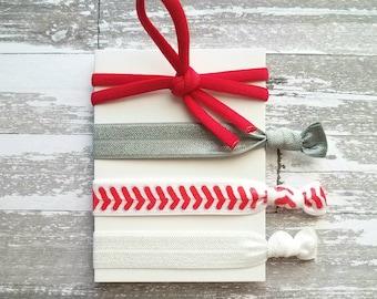 Baseball Hair Tie Set - elastic knot stretch ribbon band accessory ponytail holder - girl athlete sports stitch diamond fan mom coach gift