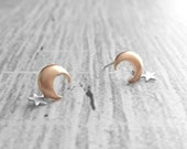 Moon and Star Earrings - rose gold stud w sterling silver post and tiny silver star dangle