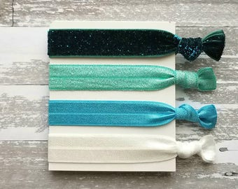 Blue Hair Band Set - ombre shades aqua turquoise velvet teal glitter sparkle elastic head tie ponytail holder handmade knot girl accessory