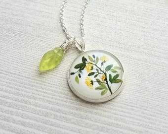 Yellow Flower Necklace - green plant leaves stem pendant / small dainty little leaf charm - delicate silver plated chain - garden gardener