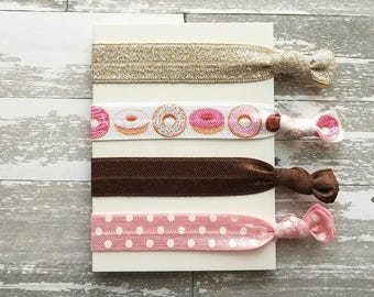 Donut Hair Tie Set - doughnuts & coffee elastic ribbon knot pigtail band accessory - pink polka dot / brown toffee sparkle good morning girl