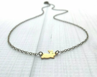 Baby Bunny Necklace - tiny rabbit pendant in gold raw brass - delicate antique bronze chain - minimalist petite little small charm