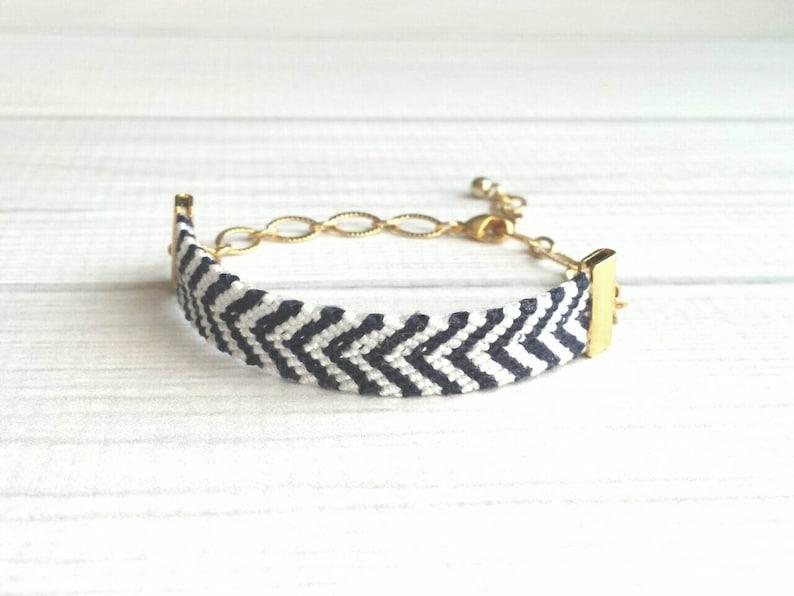 b5d28008a1fa0 Woven Bracelet - navy white stripe / gold chain adjustable chevron V woven  blue diagonal - small cotton braid knot thread string zigzag
