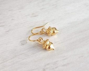 Gold Acorn Earrings - small golden miniature plated acorns on simple little lightweight delicate ear hooks - Fall Minimalist Squirrel Nuts