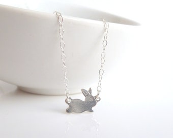 Silver Bunny Necklace - .925 sterling silver chain / baby bunny rabbit - Easter gift minimalist style pendant / small links