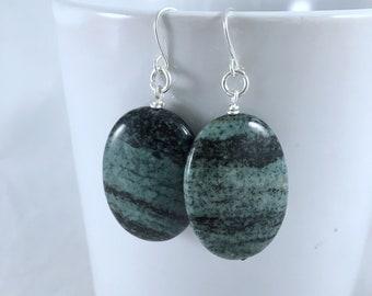 Zebra Jasper Earrings- Stone Jewelry- Gift Ideas- Jasper Jewelry- Nickel Free Jewelry- Gifts for Her- Nature Jewelry- Statement Earrings