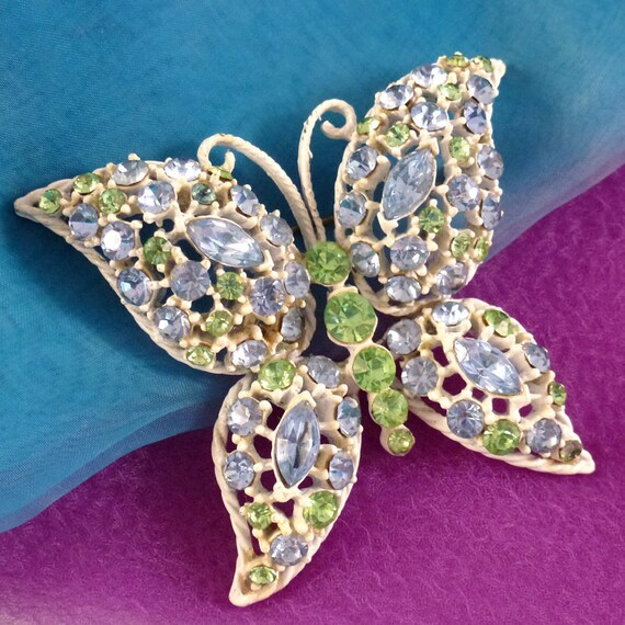 Vintage White Butterfly Brooch with Green and Blue
