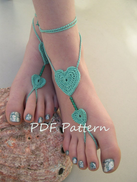 Heart Barefoot sandals pattern Crochet heart Barefoot | Etsy