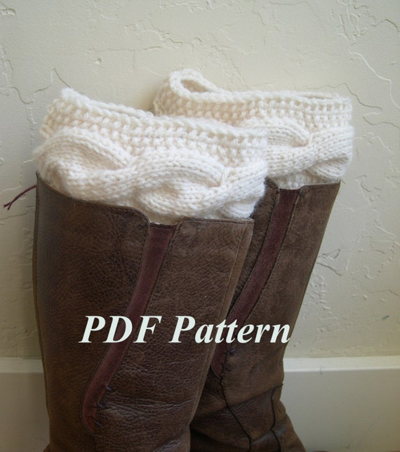 Cable Knit Boot Cuffs Pattern Boot Cuffs Tutorial Easy Knit Etsy