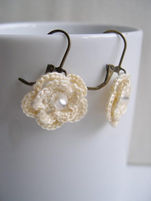 Colorful Springtime Flower Crochet Earrings