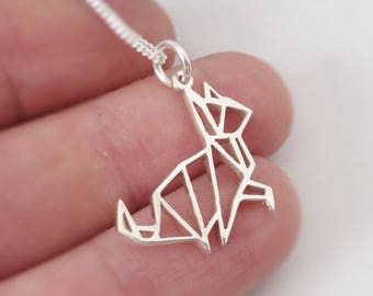 Sterling silver Origami inspired Kitty Cat Pendant