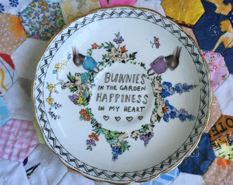Reserved Bunnies in the Garden Happiness in My Heart Vintage Illustrated Plate