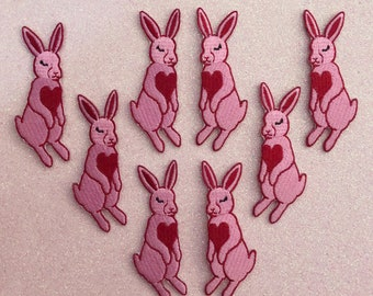Twin Heart Bunnies Embroidered Iron-On Patch - Set of Two