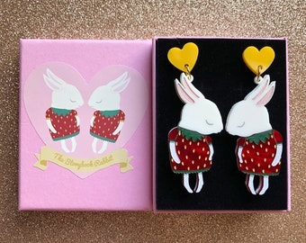 Shy Bunny Laser Cut Acrylic Perspex Earrings - Cream Strawbunnies with Red Swirl -Surgical Steel Backs