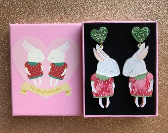 Shy Bunny Laser Cut Acrylic Perspex Earrings - White Glitter Strawbunnies with Pink Crystal -Surgical Steel Backs