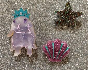 Mini Mermaid Princess Bunny Brooch Set of Three - Mauve