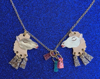 Small Double Carmen Camel Necklace with Tassel Gangle Gold Plated Chain Handmade Acrylic Perspex Jewellery necklace