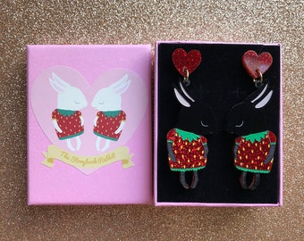 Shy Bunny Couple Laser Cut Acrylic Perspex Earrings - Black Strawbunnies with Red Glitter -Surgical Steel Backs