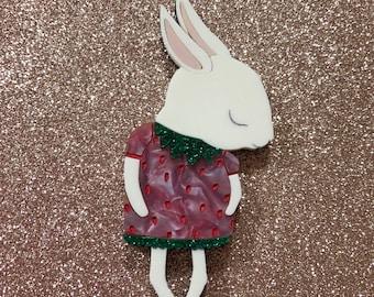 Shy Bunny Handmade Laser Cut Perspex Brooch - Pink Crystal Strawberry Bunny