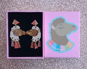 Small Dangly Carmel Camel & Tassel Pyramid Stud Earrings- Brown Carmel Camel Laser Cut Earrings Handmade Egyptian Camels