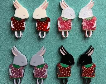 Mini Shy Bunny Handmade Laser Cut Perspex Brooch - Mini Shy Strawbunny Sets and Singles