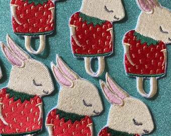 Strawberry Shy Bunny Embroidered Iron-On Patch
