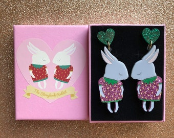 Shy Bunny Laser Cut Acrylic Perspex Earrings - Grey Strawbunnies with Pink Glitter -Surgical Steel Backs