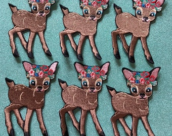 Flower Deer Embroidered Iron-On Patch
