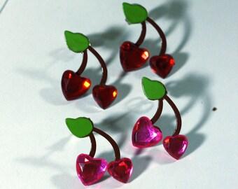 Pink or Red Cherry Post Earrings with Rinestones - repurposed scrapbook brads - metal jewelry