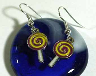 Yellow and Purple circle Lollipop Charm Earrings - Halloween Candy Jewelry - Halloween Costume Accessories