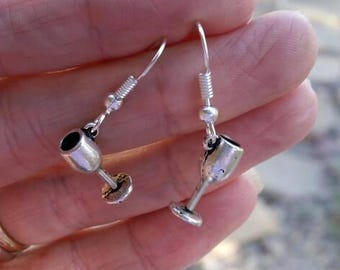 Silver Wine Goblet Charm Earrings - Womens Fashion Jewelry - Fun Charming Accessories
