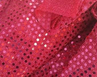 Red Sequin Fabric - Lightweight Craft Fabric - Great for Holiday Projects