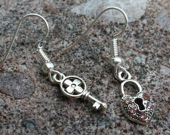 Pink Rhinestone Heart Lock and Key Mix matched Earring Set - Valentine's Gift - Gifts for Mom