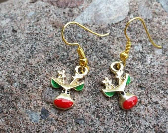 Gold, Red, and Green Reindeer Charm Earrings -Christmas Charm Earrings - Holiday Jewelry Costume Ideas - Teacher Gifts