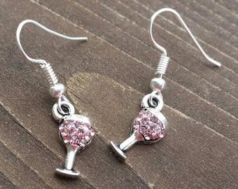 Pink Rhinestone Wine Glass Charm Earrings - Womens Fashion Jewelry - Fun Charming Accessories - Teacher Gifts