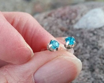 Small Blue Rhinestone Post Earrings - Gifts for girls - hypo allergenic posts