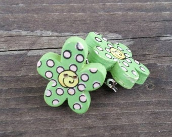 Green, Pink, and Yellow Wooden Button Clip on Earrings - colorful womens earrings - Spring Flowers - Gift Ideas - Wood Buttons