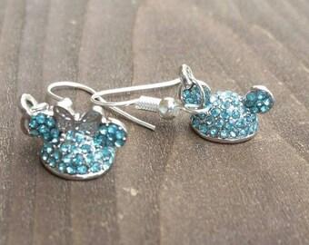 Light Blue Rhinestone Mouse Ears Headband Hat Charm Earrings - Gift Ideas - Vacation Reveal - Amusement Park Accessories