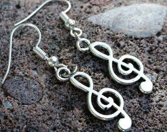 Music Note Charm Earrings - Silver Tone Treble Clef Music Charm Earrings - tween earrings Music Lover Jewelry