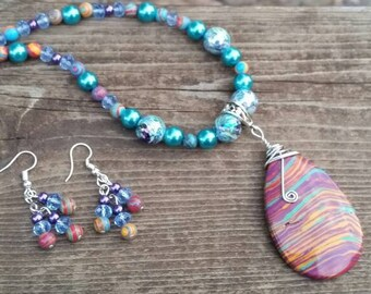 Turquoise teardrop wire wrapped pendant with glass, acrylic and crystal beads - necklace, earrings, and bracelet set - 54x36x7mm multi-color